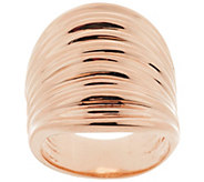 As Is Bronzo Italia Bold Polished Ribbed Saddle Ring - J319495