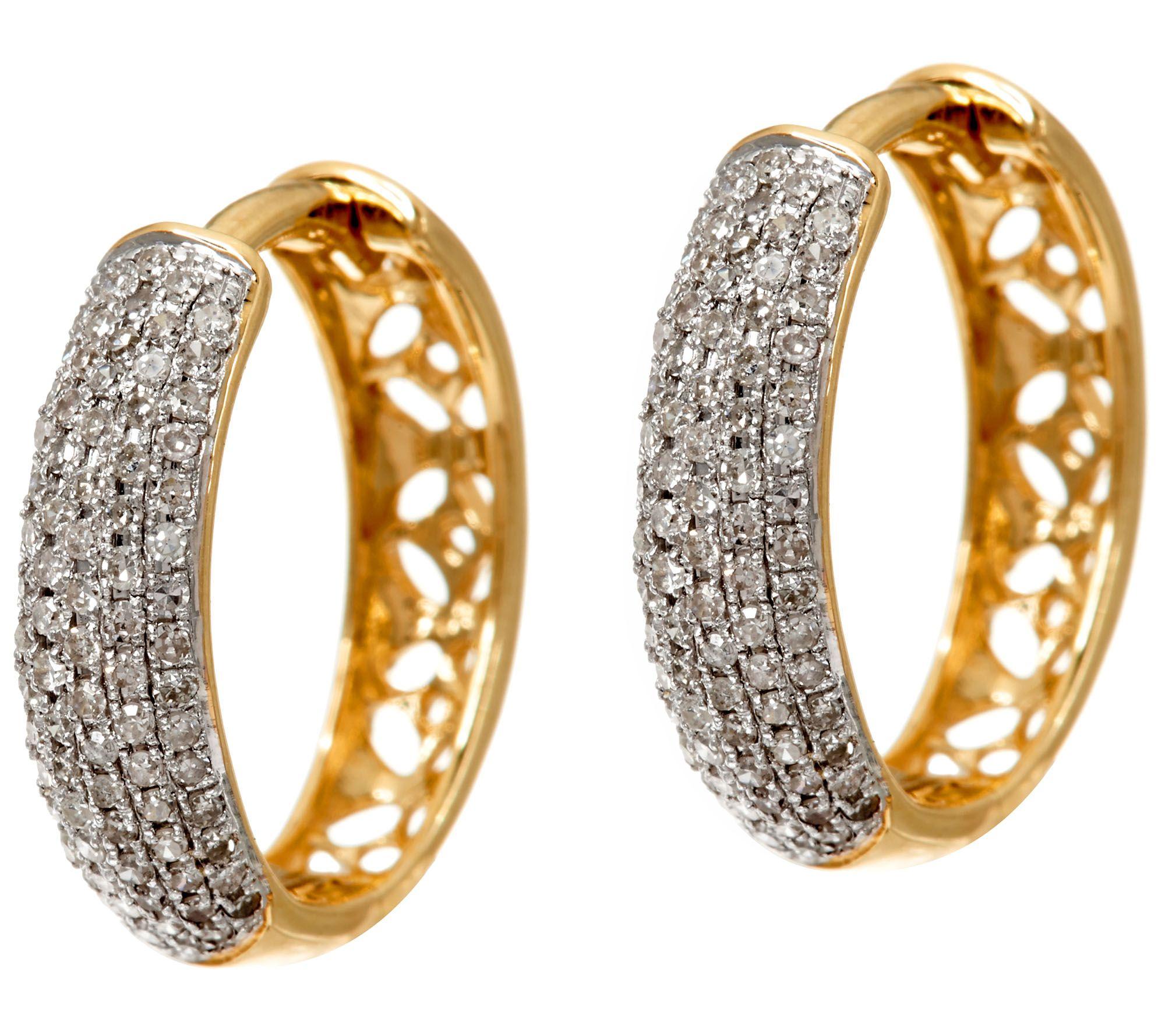 Pave Diamond Huggie Hoop Earrings 1 2 cttw 14K Gold Affinity