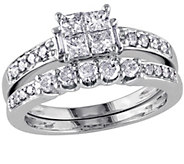 Affinity Cluster Diamond Ring Set, 14KWhite Gold - J340895