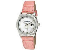 Peugeot Womens Silvertone Coin Bezel Pink Leather Watch - J344595