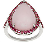 Pink Opal & Pink Tourmaline Sterling Pear Shaped Ring - J349695