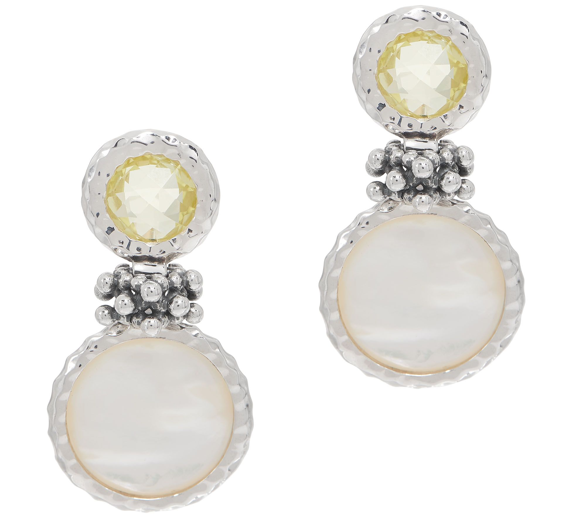 Michael Dawkins Sterling Silver Mother Of Pearl Lemon Quartz Earrings Qvc