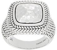 JAI Sterling Silver Hammered & Basketweave Ring - J359595