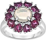 Sterling 4.50 cttw Ethiopian Opal & Rhodolite Halo Ring - J375195