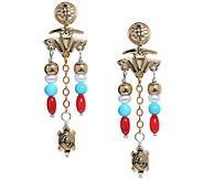 American West Sterling & Brass Santa Fe Charm Beaded Earrings - J383995