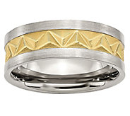 Steel by Design Mens Two-Tone Grooved 8mm Brushed Band Ring - J385495