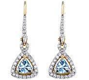 14K Gold Aquamarine & 1/6 cttw Diamond Dangle Earrings - J385795