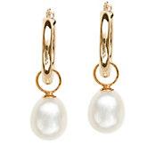 Honora Pearl Drop Hoop Earrings, 14K Gold - J387095