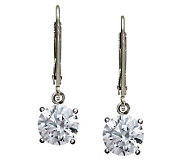 Diamonique 100-Facet 4 cttw Round Lever Back Earring - J112396