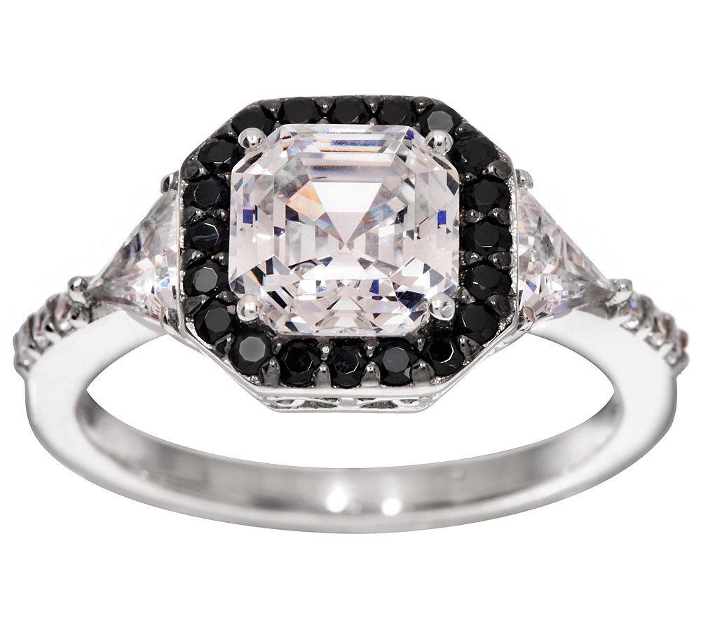 Diamonique Black Clear Cher Cut Ring Platinum Clad Page 1 Qvc