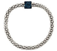 Stainless Steel Popcorn Chain Bracelet w/ Pave Magnetic Clasp - J283996