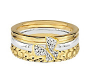 Simply Stacks Sterling Two-Tone Butterfly RingSet - J312696