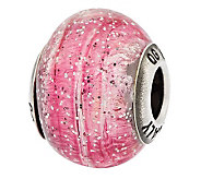 Prerogatives Sterling Pink Glitter Italian Murano Glass Bead - J312796