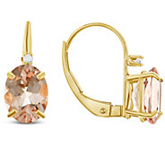 14K Yellow Gold Oval Morganite Diamond Accent Earrings - J314096