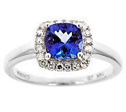 Cushion Tanzanite & 1/5 ct tw Diamond Halo Ring, 14K Gold - J314796