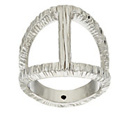 As Is Italian Silver Sterling Elongated Diamond Cut Status Ring - J332196
