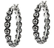 Or Paz Sterling Silver Gathered Rose 1 Round Hoop Earrings - J335596
