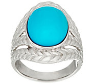Bold Sleeping Beauty Turquoise Braided Sterling Ring - J335796