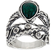 Or Paz Sterling Silver Chrysocolla & White Topaz Ring - J349096