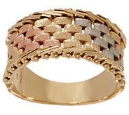Imperial Gold Tri-Color Basketweave Band Ring, 14K Gold - J352296