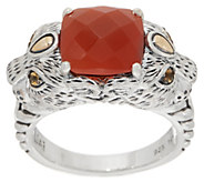 JAI Sterling Silver & 14K Gold Double Leo Head Gemstone Ring - J352996
