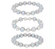Honora Cultured Pearl Stretch Bracelet Set Sterling - J355096