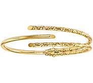 Italian Gold Textured & Polished Bypass HingedCuff 14K, 6.4g - J377696