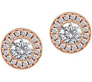 Diamonique 2.45 cttw Round Halo Stud Earrings,14K Clad - J380496