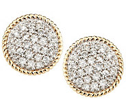 Pave Diamond Round Stud Earrings, 14K, 1/2cttw by Affinity - J284097