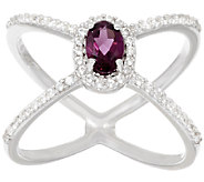 Graziela Gems Gemstone & White Zircon X-Design Sterling Ring - J293997