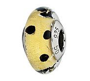 Prerogatives Gold and Black Dots Italian MuranoGlass Bead - J300297