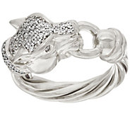 As Is Italian Silver Sterling Diamonique Panther Head Ring - J335497