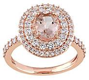 1.15 ct Morganite & 1/7 cttw Diamond Ring, 14KRose Gold - J343297