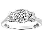 Pave Halo Three Stone Diamond Ring, 14K, 1/3 cttw, by Affinit - J345097