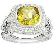 As Is JAI Sterling Cushion Cut Green-gold Quartz Ring - J347197