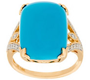 Sleeping Beauty Turquoise & Diamond Ring 14K Gold - J347997