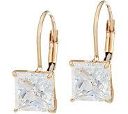 Diamonique 2.00 cttw Princess Leverback Earrings, 14K - J348597