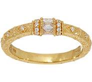 Judith Ripka 14K Clad Diamonique Estate Style Ring - J348697