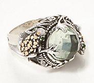 fe6b60bec0bce Artisan Crafted Sterling Silver & 18K Gold Prasiolite Frog Ring