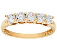 Diamonique 5-Stone Band Ring, 14K Gold - J384597