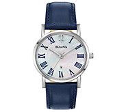 Bulova Womens Classic Slim-Profile Blue Leather Strap Watch - J384797