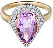 14K Gold 4.00 cttw Kunzite & 1/4 cttw Diamond Halo Ring - J385797
