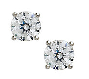 100-Facet Diamonique Round Stud Earrings, Platinum Clad - J112298