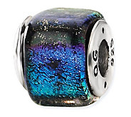 Prerogatives Sterling Blue & Purple Dichroic Glass Square Bead - J113398