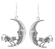 Novica Artisan Crafted Sterling Moon Jump Earrings - J308198