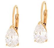 Diamonique 2.00 cttw Pear Leverback Earrings, 14K Gold - J348598
