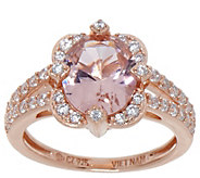 Diamonique Simulated Morganite Oval Ring, 14K Rose Gold Clad - J353398