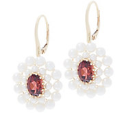 Honora Gemstone and Pearl Flower Earrings, 14K Gold - J357298