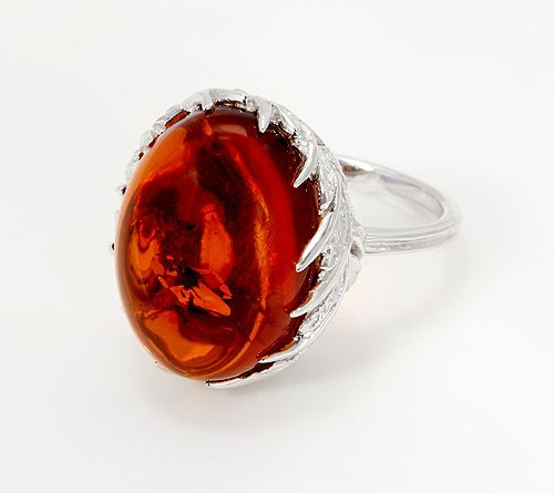 Sterling Silver Oval Amber Cabochon Leaf Design Ring