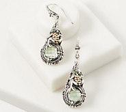 Artisan Crafted Sterling Silver & 18K Gold Prasiolite Frog Earrings - J361098